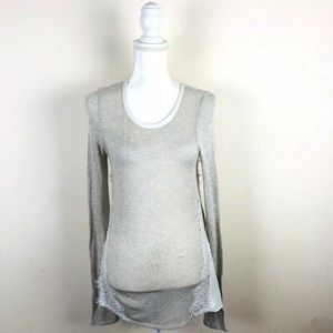 🌹Society Girl Sz S Gray White Lace Stretch Top